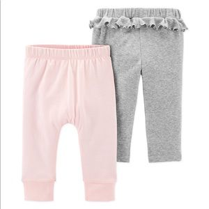 carter's® Size 3M 2-Pack Ruffle Pants in Pink/Grey